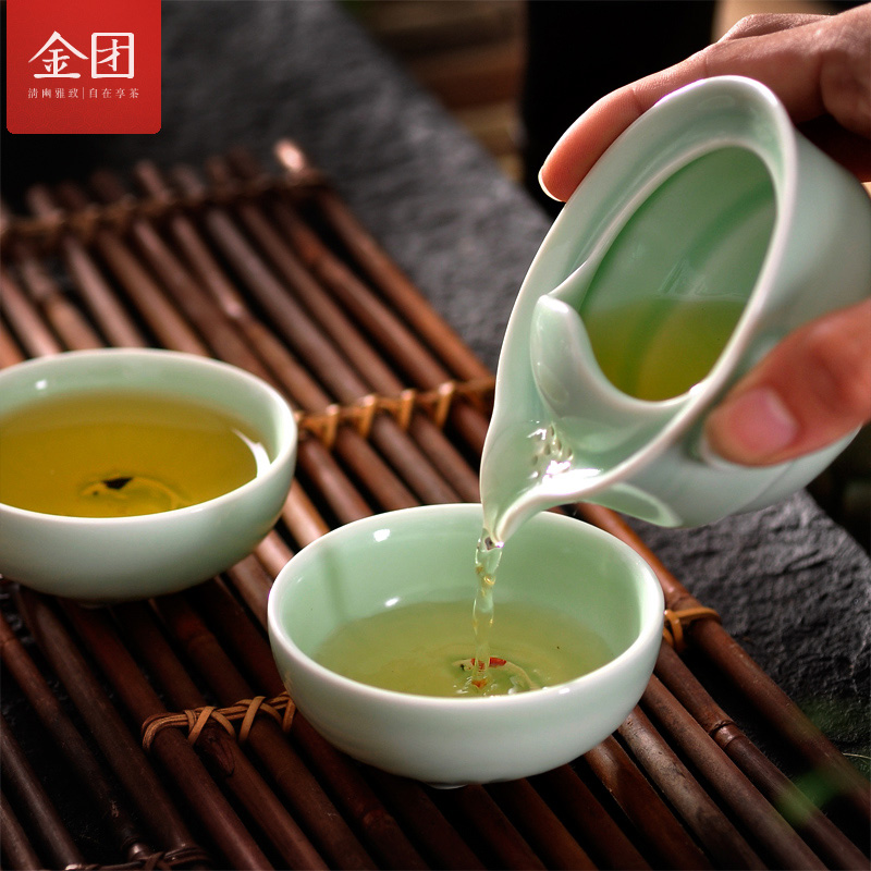 Gold group celadon quik cup pot two cups office kung fu tea covered tea cup pot clutch travel tea set