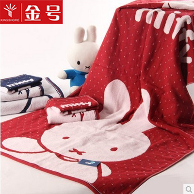 Gold/miffy cotton wool three sets of towels towel washcloth towel sets of towels double untwisted cartoon rabbit