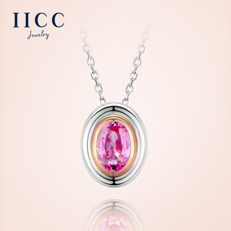 Gold necklace female iiCC18k k white gold pink sapphire pendant in sterling silver jewelry clavicle simple chain