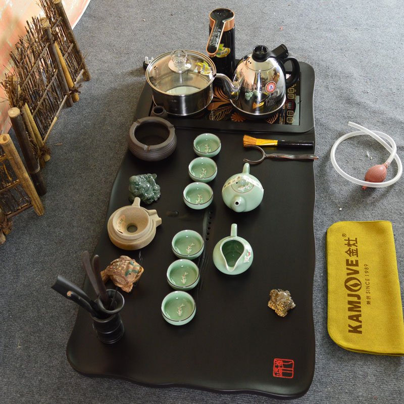 Gold stove electric stove purple ebony wood tea tray entire board ebony kung fu tea green porcelain tea sets [water