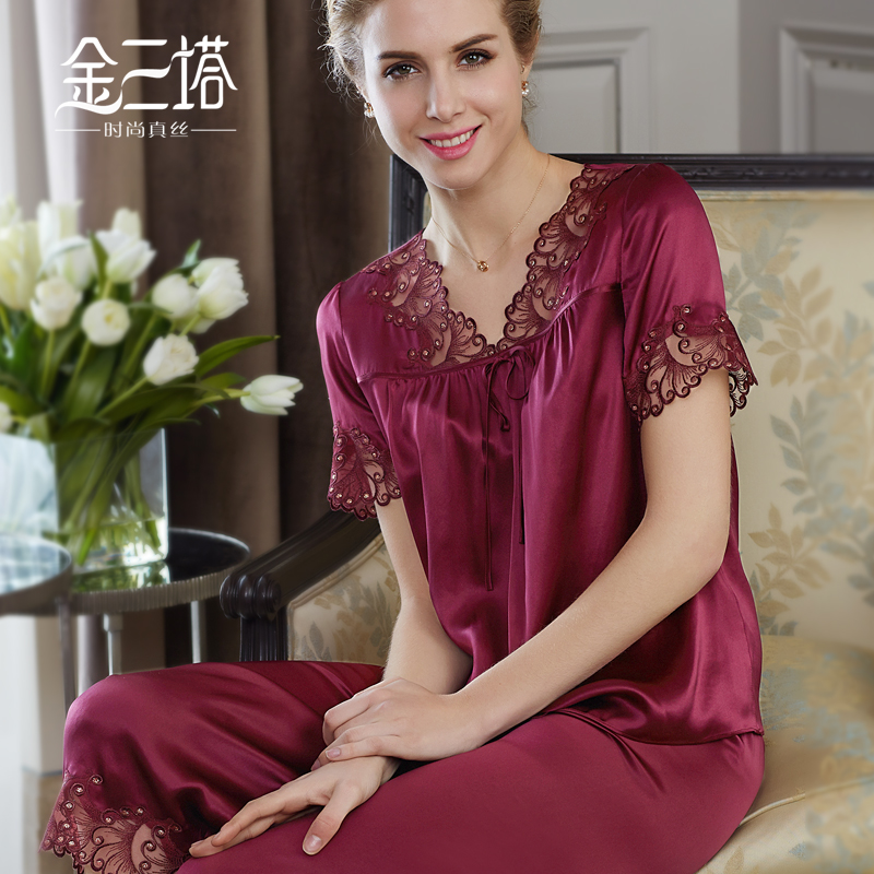 Gold three pagodas summer new 100% mulberry silk crepe satin embroidery lace loose and comfortable pajamas suit