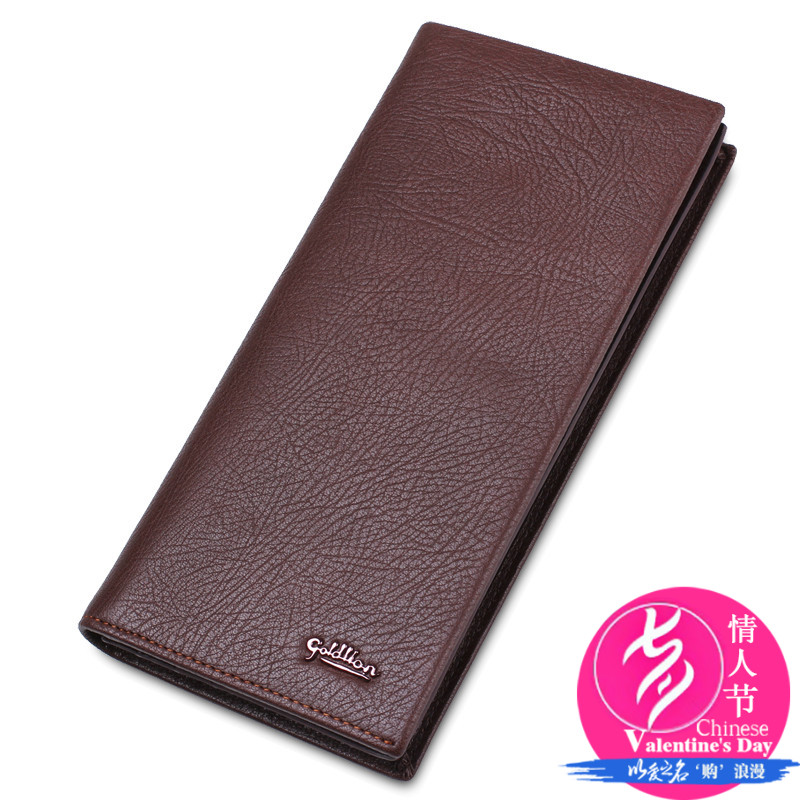 Goldlion men leather wallet long wallet genuine leather wallets wallet card bit more vertical section first layer of leather business