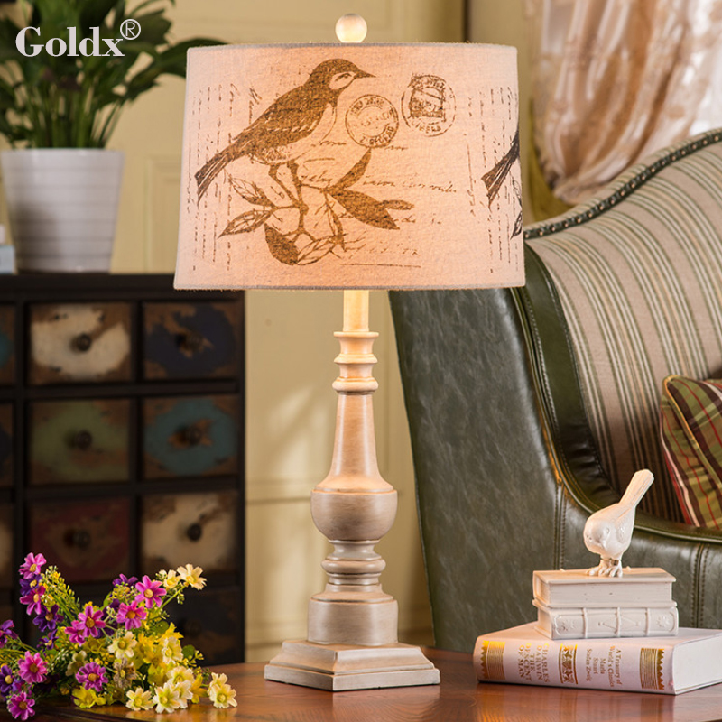 Goldx lamp american country european pastoral retro creative arts bedside lamp bedroom lamp living room cozy den