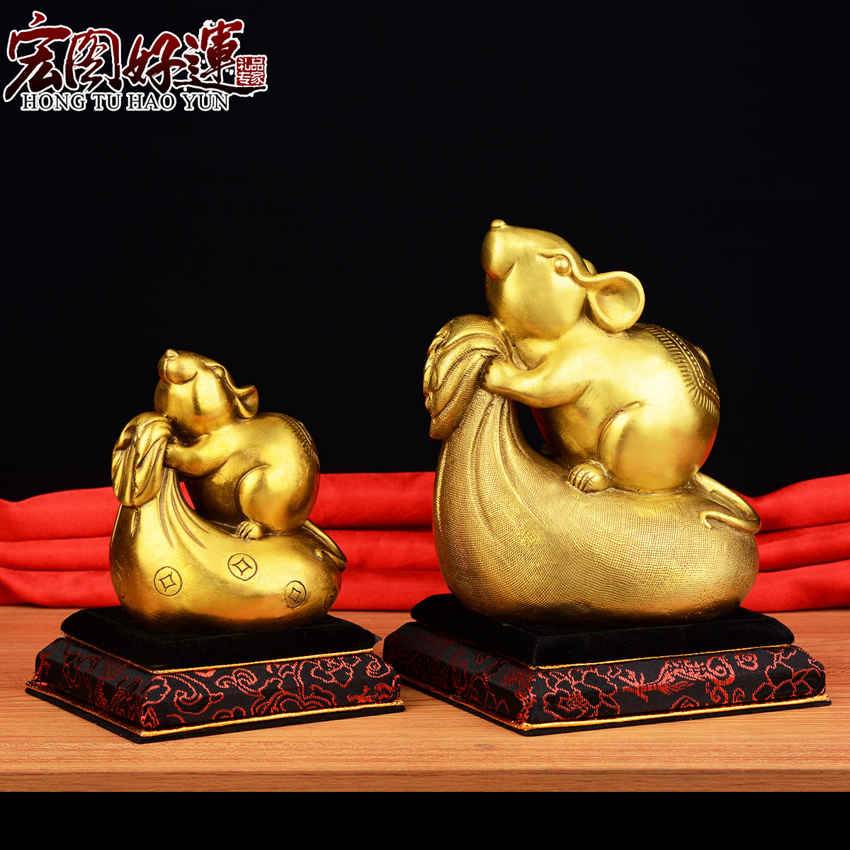 Good luck grand opening feng shui copper mouse mouse ornaments gold bag twelve students schow copper ornaments rat trick cai