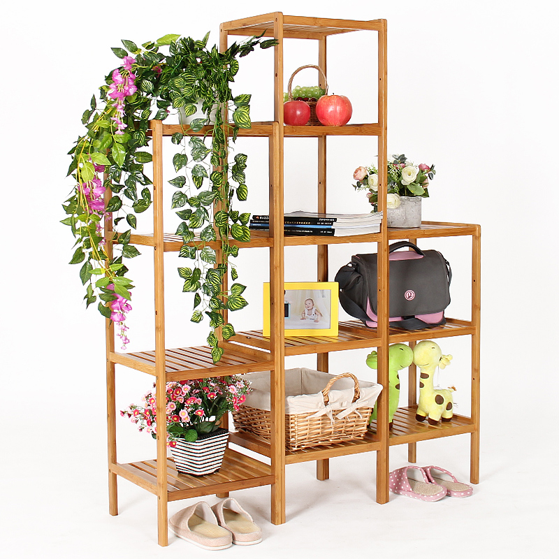 Good margin of bamboo multilayer bathroom shelf racks shelf floor balcony showy flower living room storage corner shelf