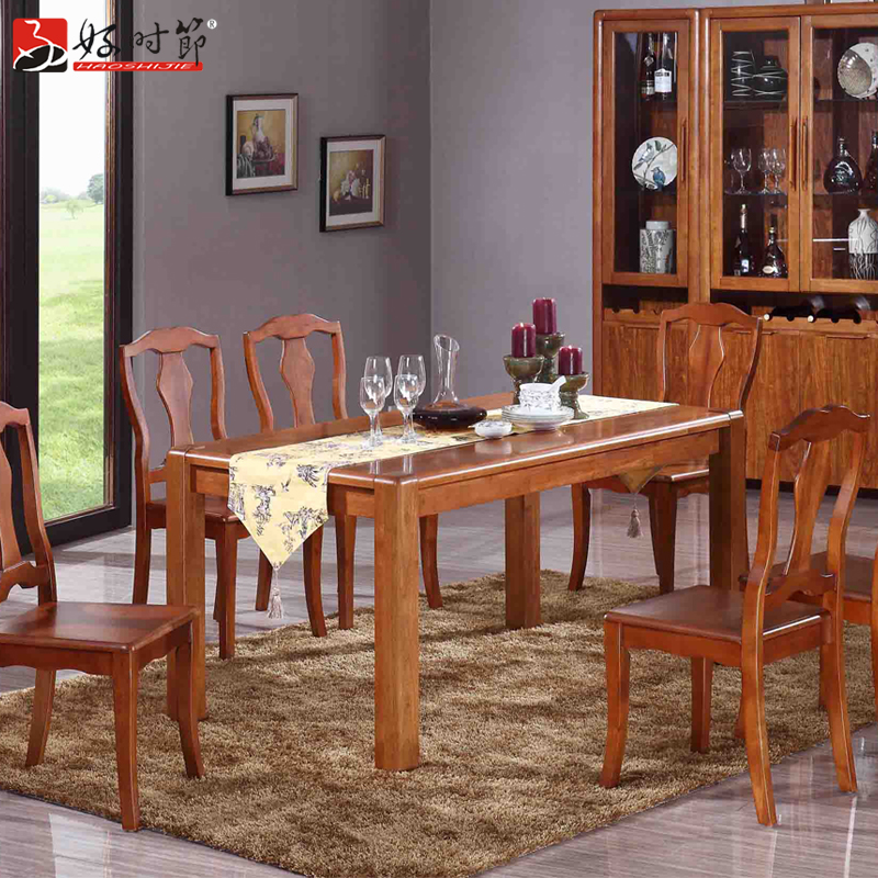 Good time wood dining table modern chinese furniture rectangular dining table solid wood dining tables and chairs wood surface