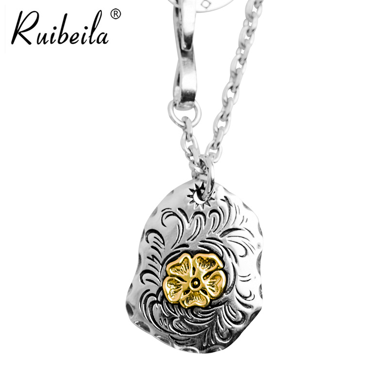 Goro takahashi ruibeila925 silver arabesque pattern flowers holy cards retro thai silver pendant necklace men pendants