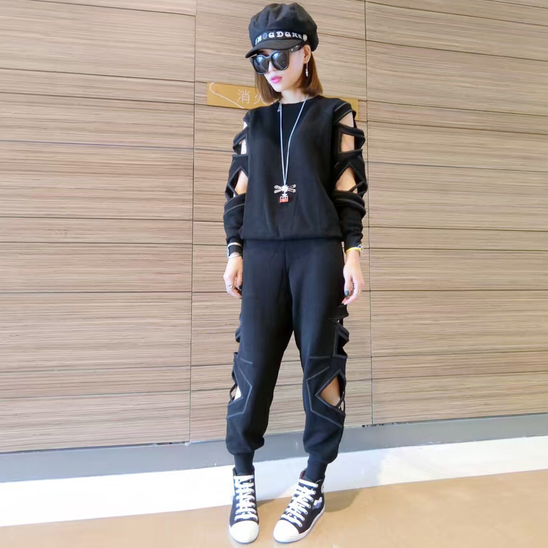 Gr 2016 early autumn new women's european leg of personality hollow piece sleeve knit waist elastic feet pants suit