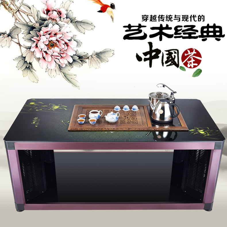 Grade wood tea tray kung fu tea table wenge wood carving coffee table beautifully automatic hydro electric heating heating boiling water