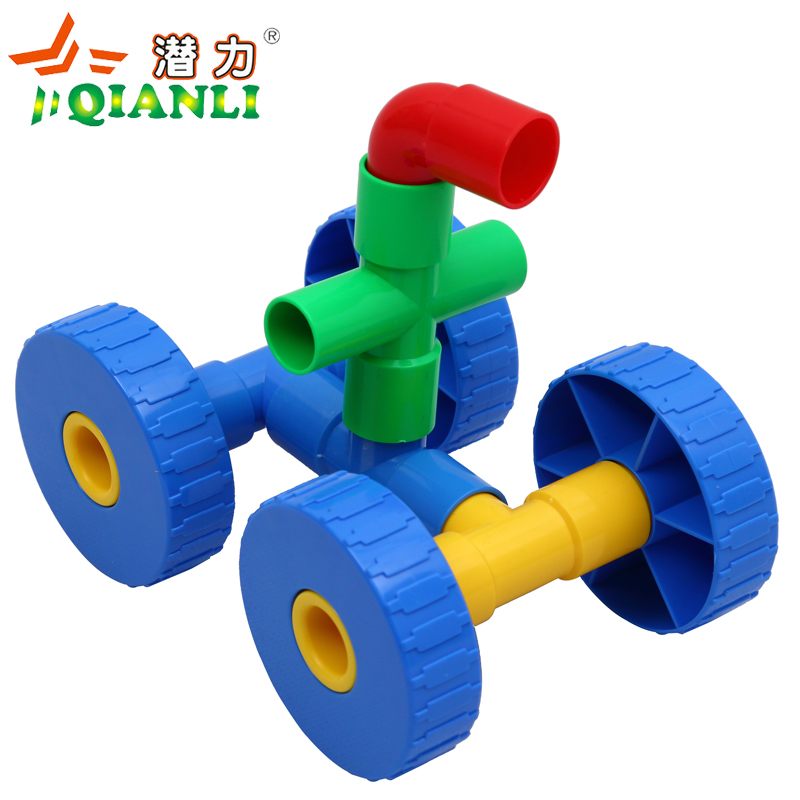 Great potential for tubular pipe plastic building blocks assembled kindergarten early childhood educational toys with wheels spell intubation tube
