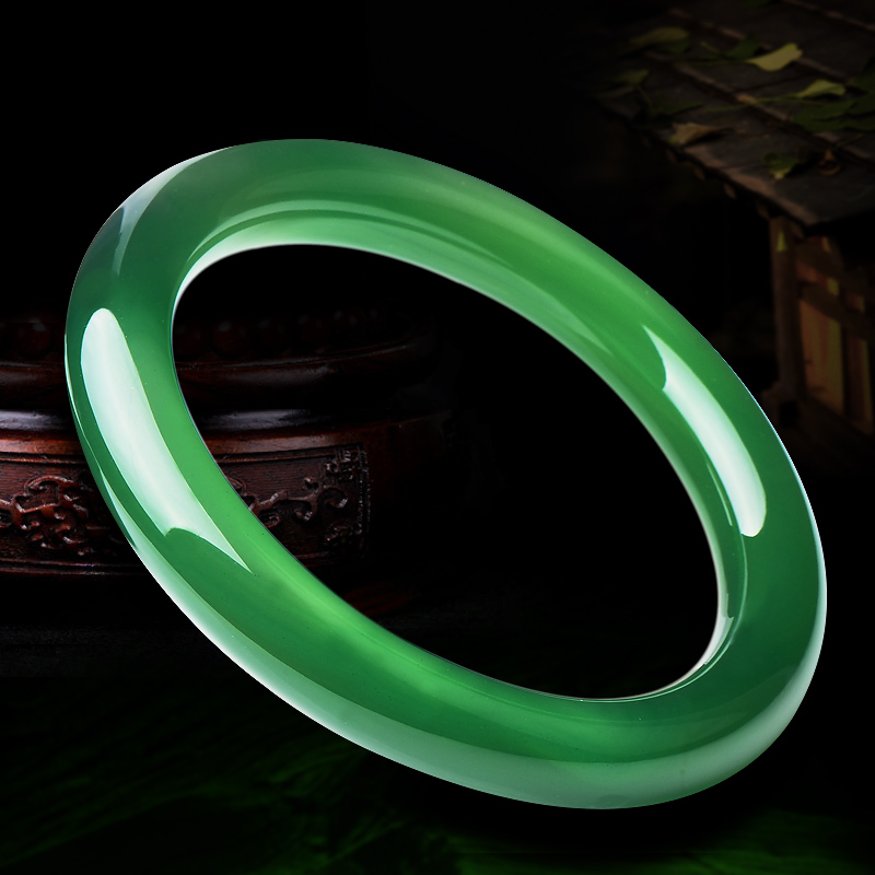 Green agate bracelet round of the pure brazilian natural ice kinds of chalcedony jade bracelet day thin section female models green jade bracelets certificate