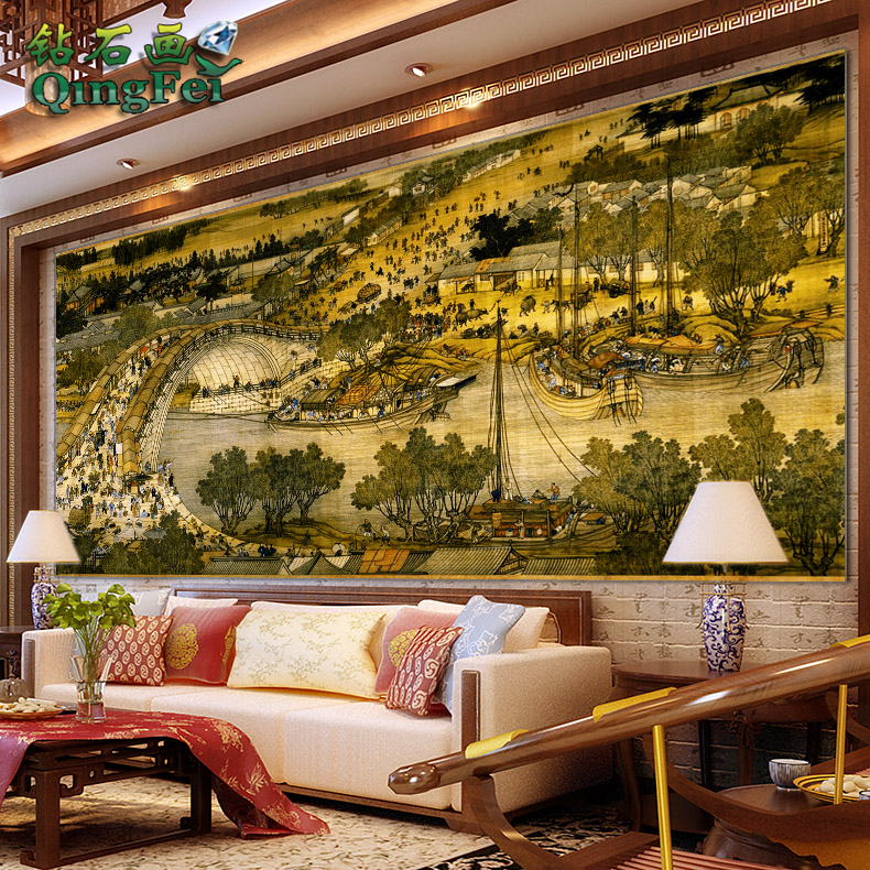 Green fly a diamond draw half king riverside landscape paintings living room large painting large painting of the new chinese painting full of diamond