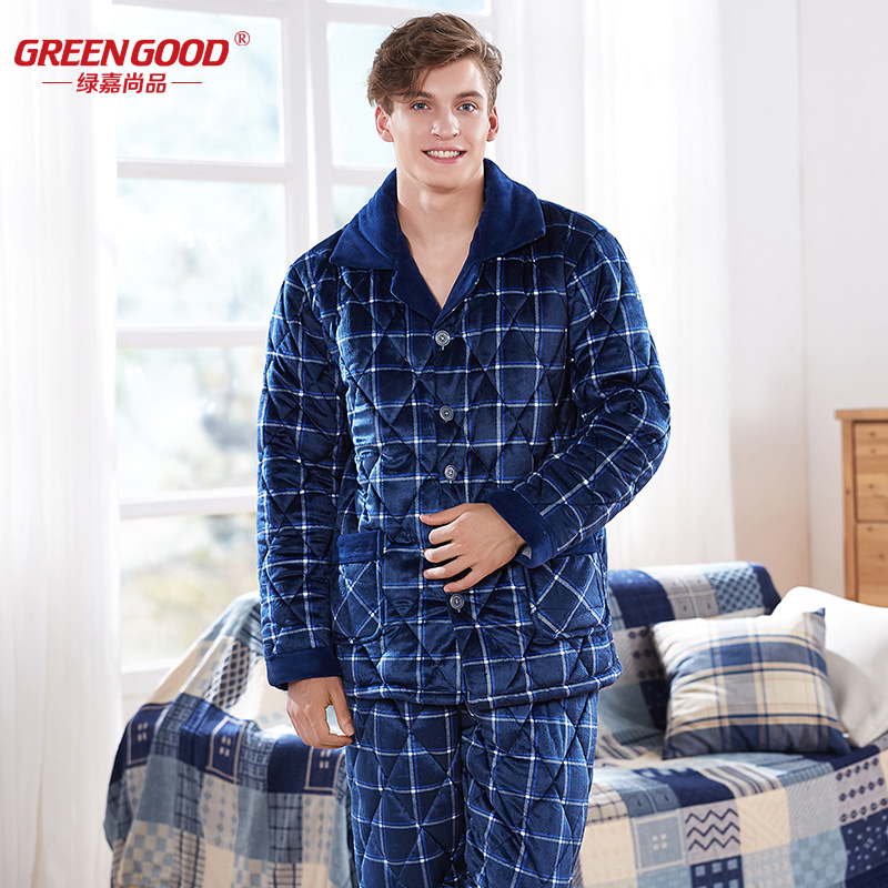 Green ka winter men coral velvet quilted pajamas three thick warm long sleeve plaid flannel suit tracksuit