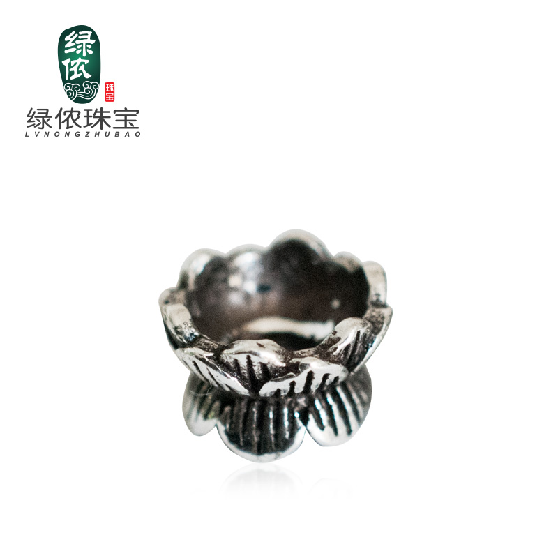 Green lennon s925 silver double lotus pedestal sided receptacle round beads bracelets silver bracelets diy jewelry accessories