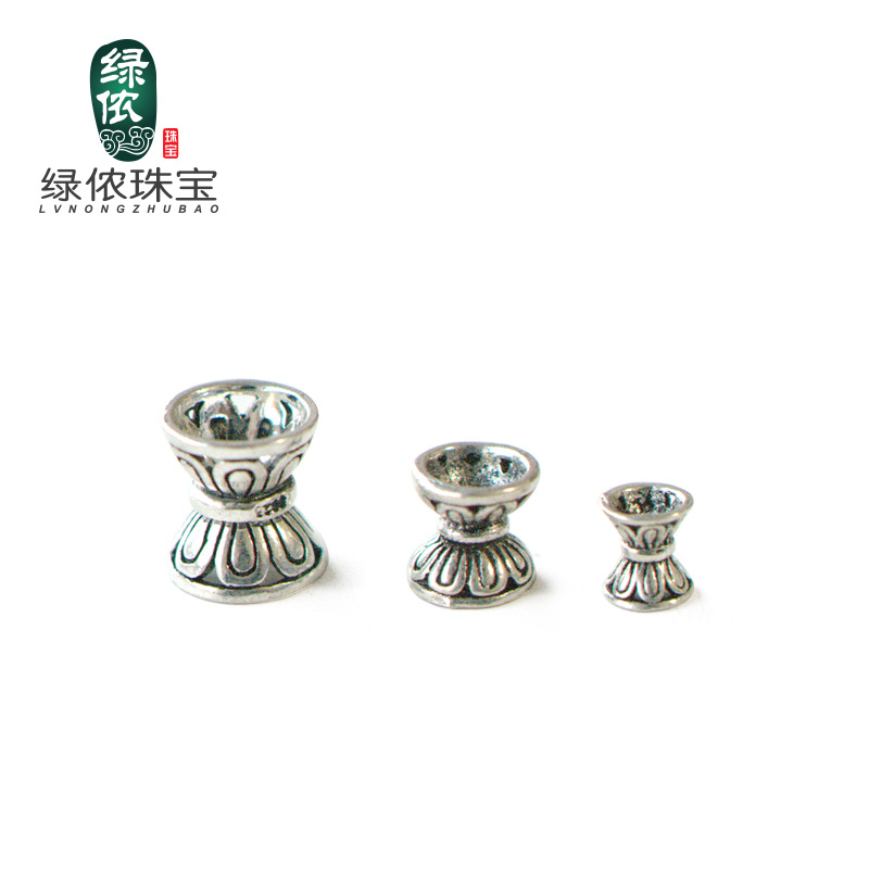 Green lennon s925 silver lotus seat sided receptacle spacer spacer beads bracelet original handmade silver jewelry accessories diy