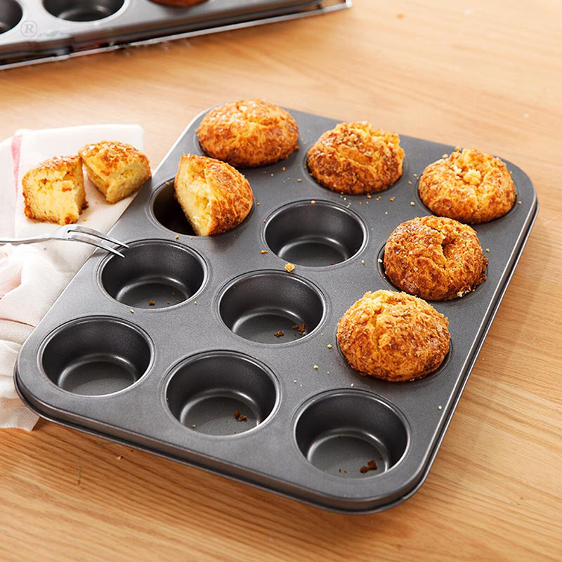 Gsl 12 cup cake baking mold cake mold even tools household nonstick cake mold box oven dedicated