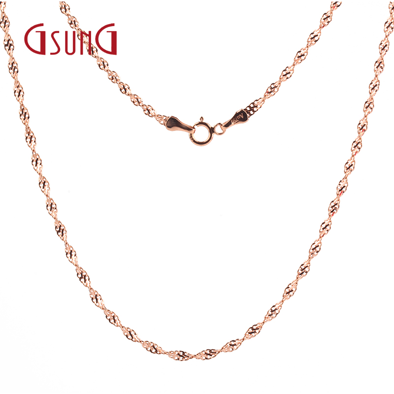 GSUNG18K red water ripples gold rose gold necklace female models au750 color gold necklace female clavicle chain to send his girlfriend