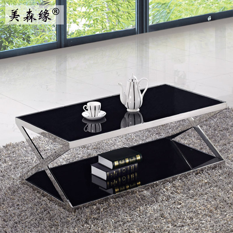 Guangzhou modern minimalist fashion coffee table office reception parlor herculite minimalist coffee table can be customized