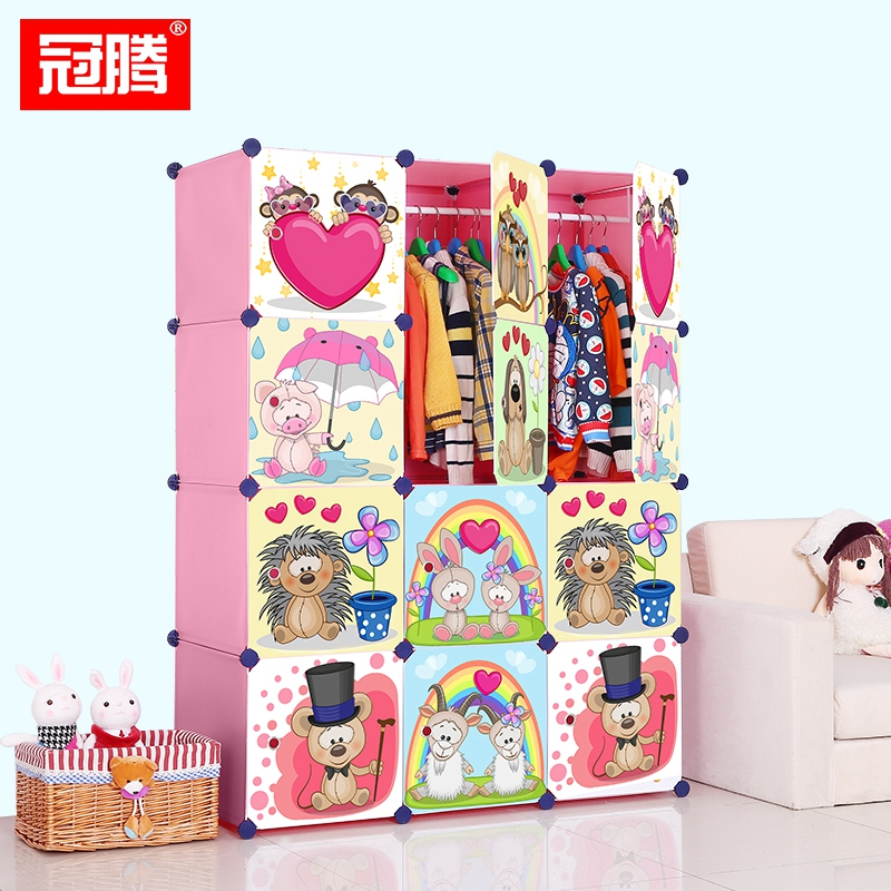 Guanteng cartoon children baby simple wardrobe storage cabinets lockers baby baby wardrobe closets dormitory home