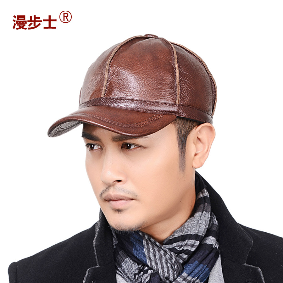 Guests stroll leather baseball cap hat male winter warm leather casual men's winter hat winter hat ear cap cotton cap hat male child