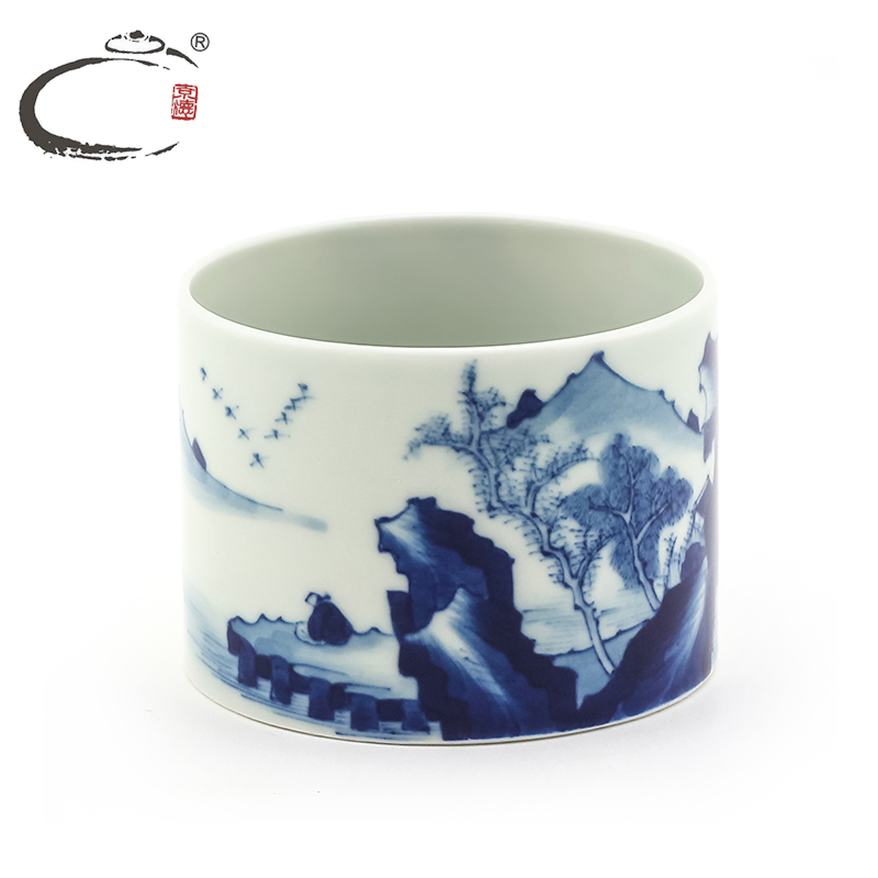 Gui xiang blue kangxi flat single cup tea cup ceramic cup painted landscapes painted blue and white porcelain small cup