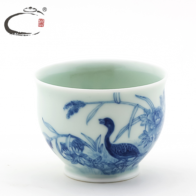 Gui xiang made in jingdezhen hand painted blue and white porcelain tea cup single cup kung fu tea cup teacup