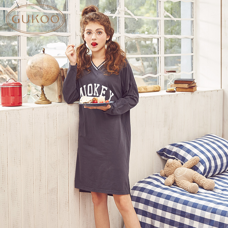 Gukoo/the20-30th days of autumn letters printed long sleeve pajamas nightgown home