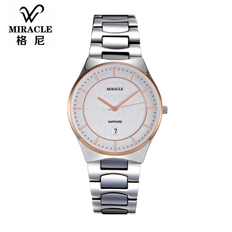 Gurney couple one pair of imported tungsten steel watches korean couple thin tungsten steel waterproof quartz watch free shipping