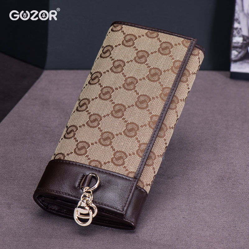 Guzor/ancient zhuo new ms. wallet long section of female large capacity canvas wallet two fold leather folder korean version of women