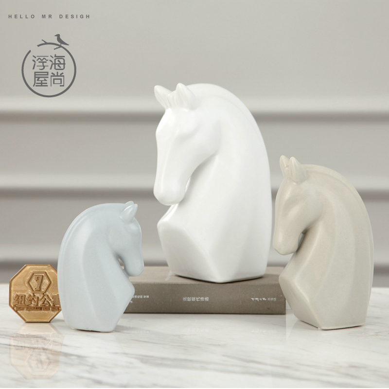 H house is still floating sea european ceramic home decoration desktop decoration crafts horsehead creative fashion ceramic porcelain ornaments