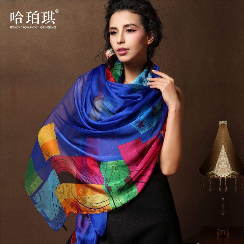 Ha poqi new wild ladies silk chiffon scarf female spring and korea imitation silk towel sunscreen shawl long section of thin