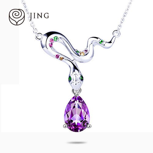 Habitat jewelry snake zodiac crystal necklace natural amethyst 925 silver pendants female birthday gift belong snake