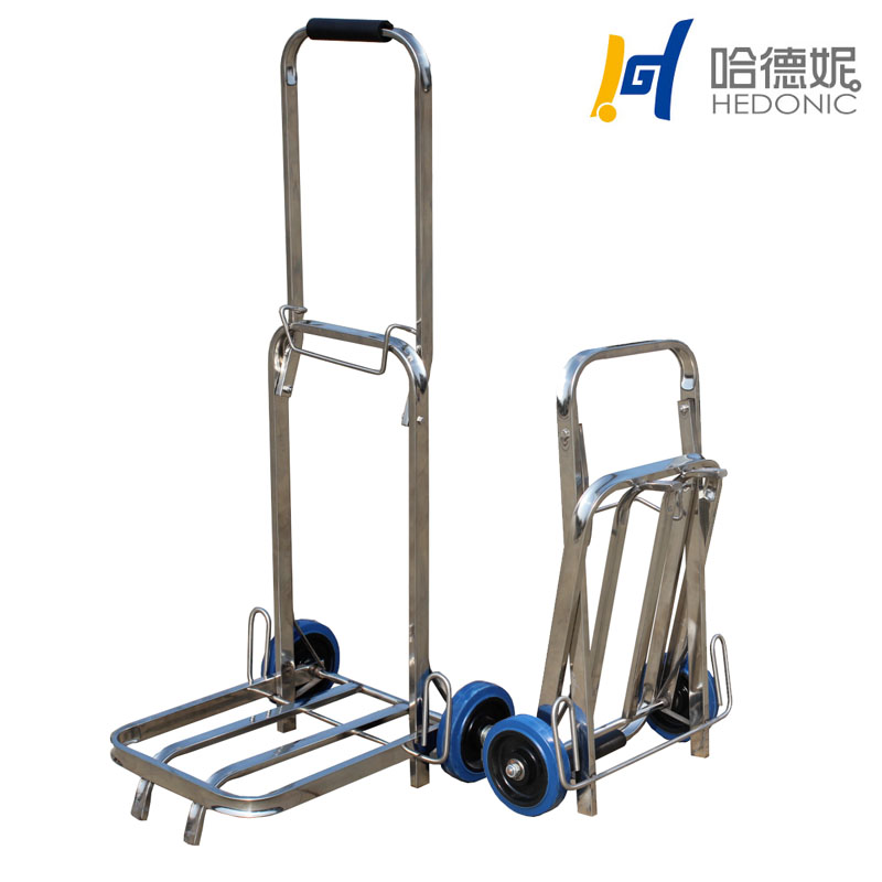 Hade ni stainless steel two wheels can be portable folding luggage cart/truck king nrk car/trolley Small car trailer