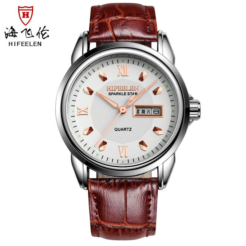 Hai feilun genuine automatic import quartz watch roman sandals men leather strap watch double ephemeris