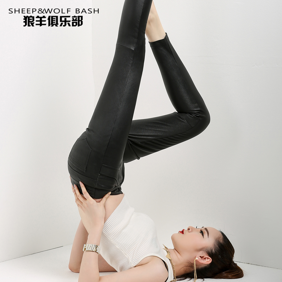 Haining europe and america stretch leather pants leather pants female trousers fall and winter haining sheep skin was thin tight pencil pants feet