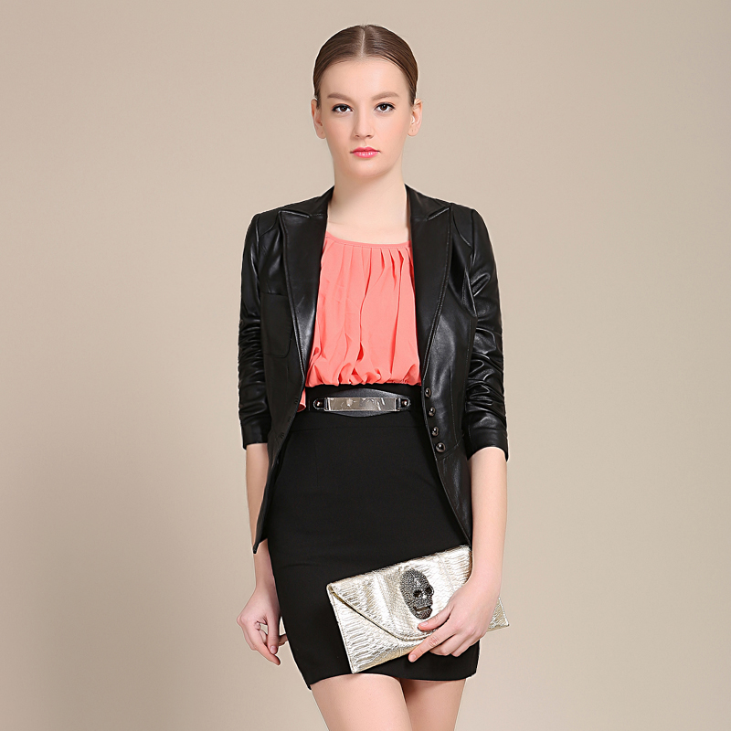 Haining leather leather leather women short section of the spring and autumn single spring and autumn women's leather leather women short paragraph small suit 2016
