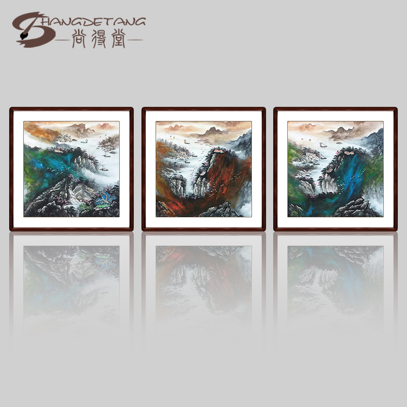 Hall was still throwing ink landscape painting freehand painting painting painting decorative painting triptych painting the living room hang painted artworks