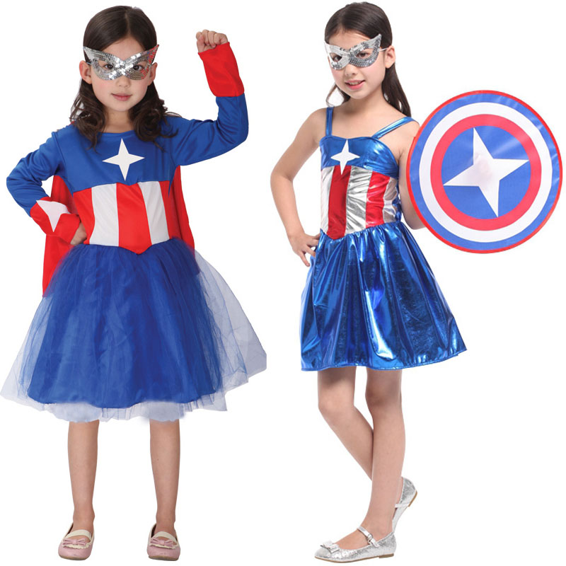 328ff8996 Get Quotations · Halloween children's clothing female children's clothes  avengers captain america cosplay female soldier suit