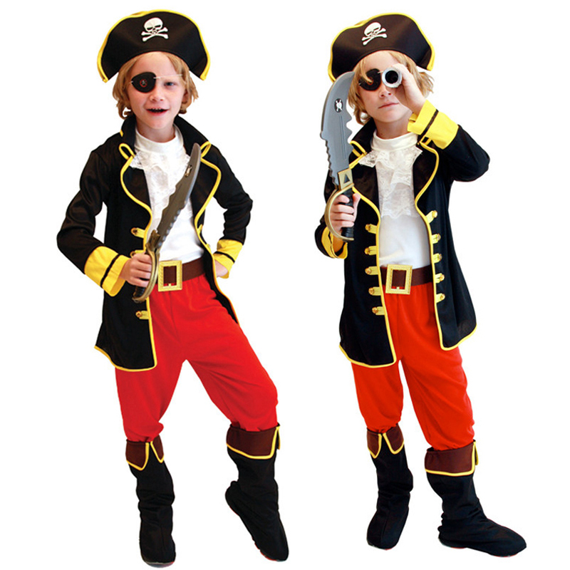 Halloween children's performing male pirate costume masquerade cosplay costumes pirate captain jack dress