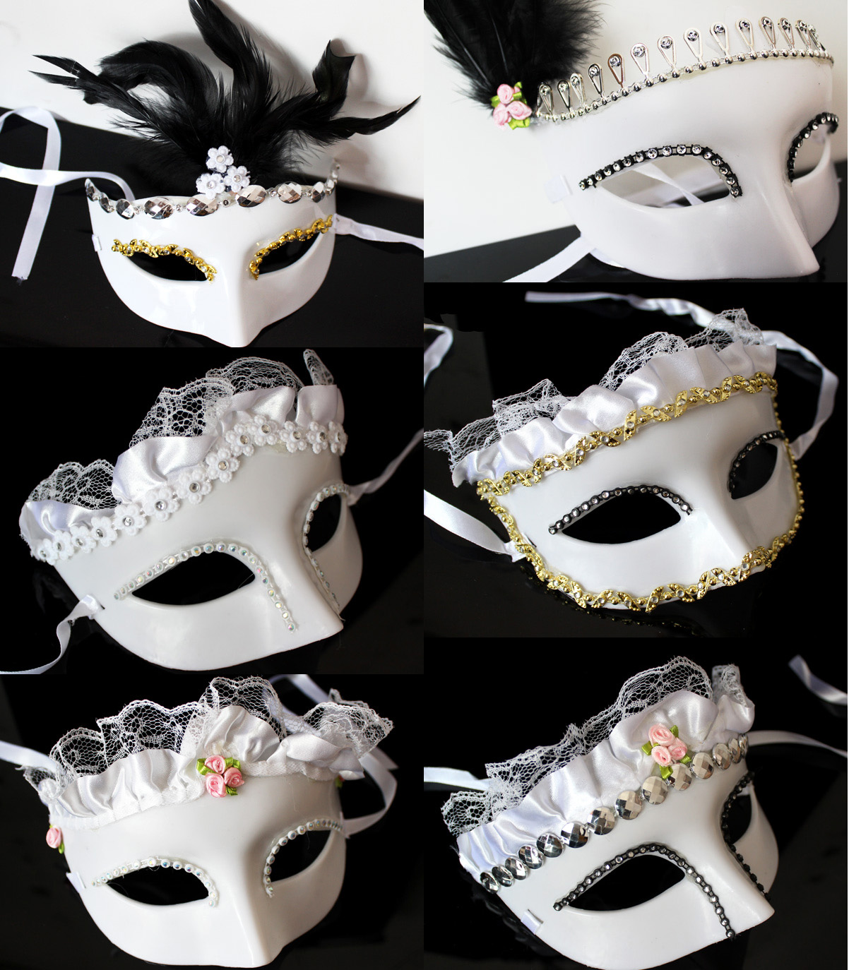 Halloween mask feather mask masquerade mask goggles white princess series goggles goggles exquisite