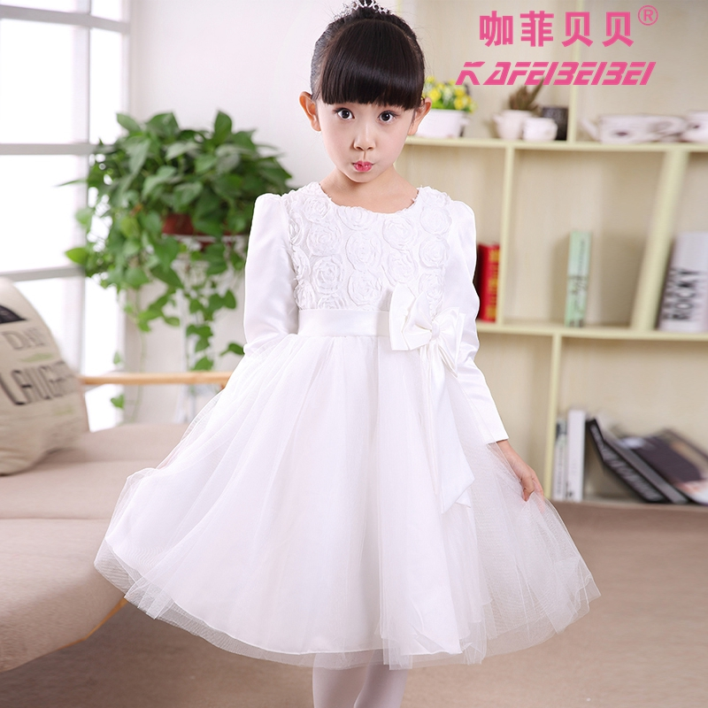 Halloween snow white princess dress little girls fall and winter big boy white wedding flower girl dresses wedding dress child costume