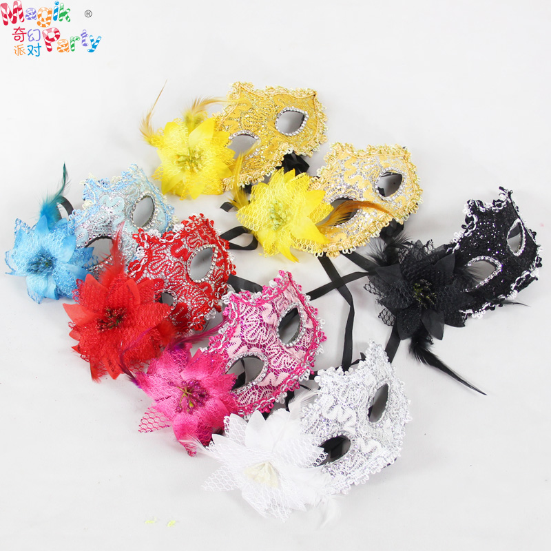 Halloween venetian beauty lace female child princess masquerade mask feather mask half face mask
