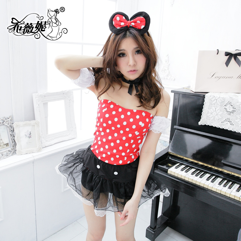 Halterneckmaxidress ladieswear performance clothing stage costumes costumes cute mickey mouse mickey DS1025 xi weini