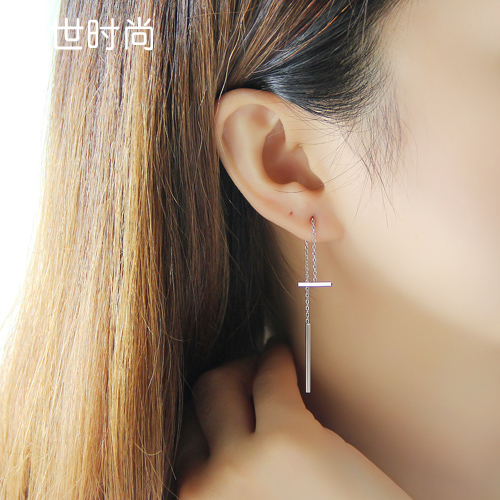 Han fashion s925 sterling silver stud earrings female ring simple wild temperament long section of south korean tassel ear ear wire earrings