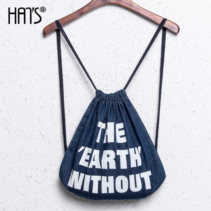 Han iraqis famous denim shoulder bag leisure travel backpack simple drawstring bag drawstring backpack female college wind