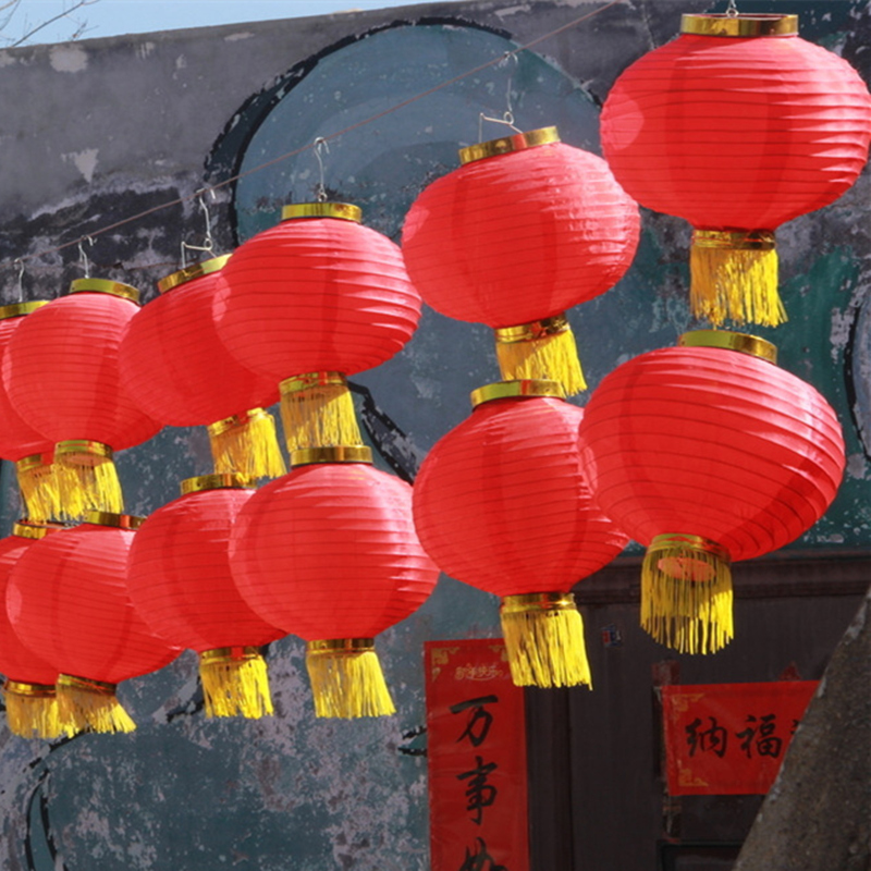 Han tang round red lanterns red lanterns hop dance autumn festival national day decorative lights advertising folding lantern cage