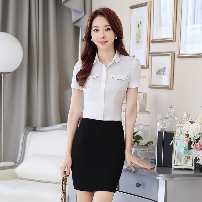 Han xue 6朵summer new ladies short sleeve round neck shirt slim ol white shirt women wear dresses