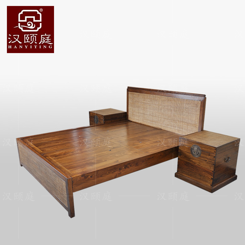 Han yi ting new authentic chinese classical old elm wood logs pure solid wood 1.5 m double bed minimalist style