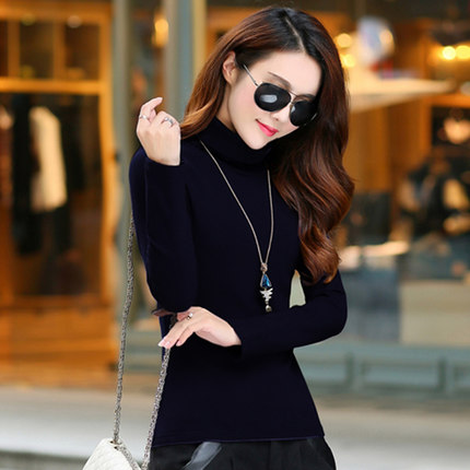 Han zi honey autumn and winter cotton long sleeve t-shirt thick warm high collar korean version of cultivating wild bottoming shirt korean women