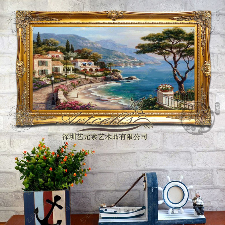 Hand painted mediterranean landscape of european painting the living room office hotel clubs decorative painting framed mural YGH012